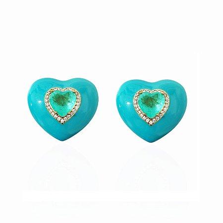 Brinco Dourado Pressão Coração Esmaltado Verde com Pedra Turmalina