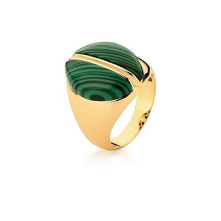Anel Dourado Pedra Malaquita Oval