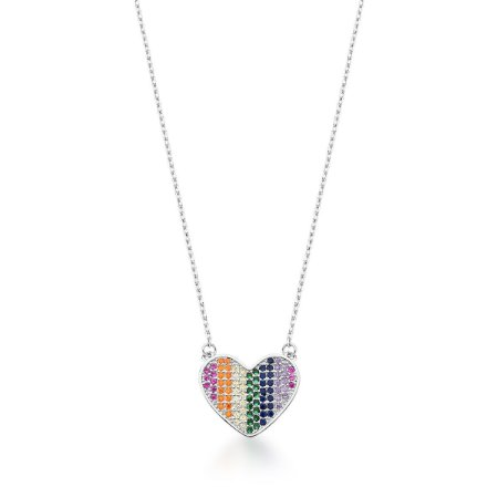 Colar Ródio Coração Rainbow