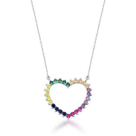 Colar Ródio Coração Vazado Rainbow