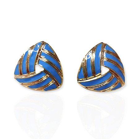 Brinco Dourado Esmaltado Triangular Azul