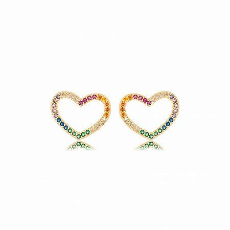 Brinco Dourado Coração Vazado Zircônias Rainbow