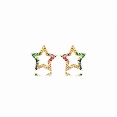 Brinco Dourado Estrela Zircônias Rainbow