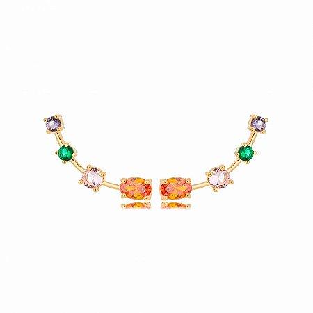 Brinco Dourado Ear Cuff Zircônias Ovais Rainbow