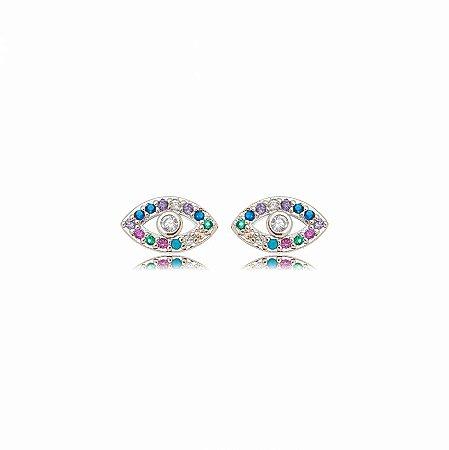 Brinco Ródio Olho Zircônias Rainbow