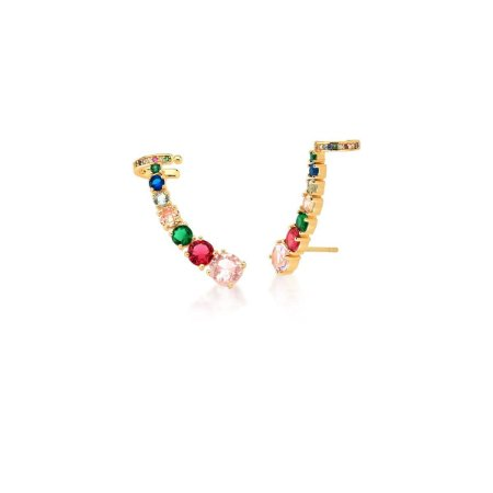 Brinco Dourado Ear Cuff Zircônias Rainbow