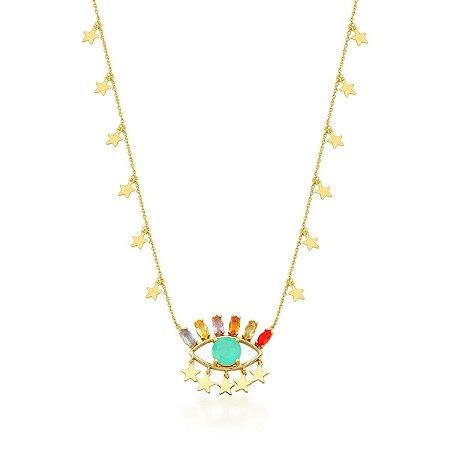 Colar Dourado Estrelas Olho Grego Turmalina e Zircônias Rainbow