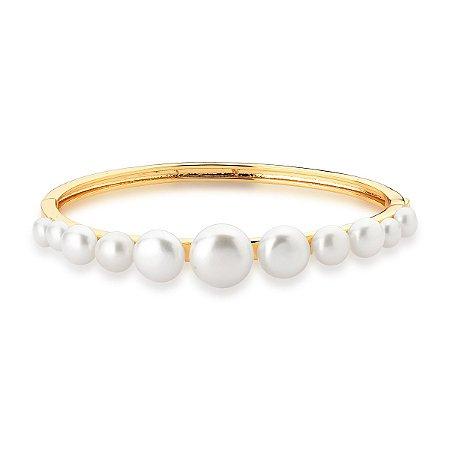 Bracelete Dourado Liso com  Pérolas