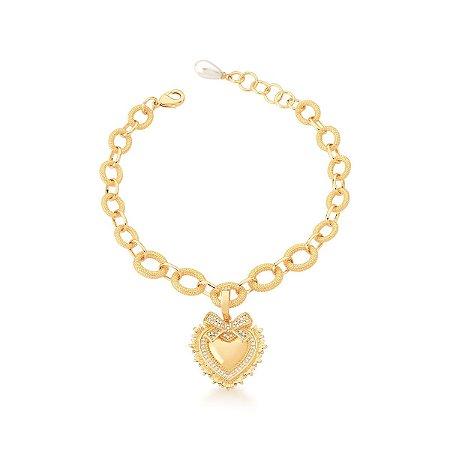Pulseira Dourada Elos Pingente Coração e Laço com Zircônias