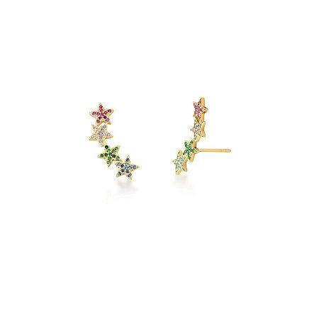 Brinco Dourado Estrelas Ear Cuff com Zircônias Rainbow