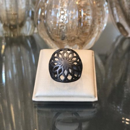 Anel Ródio Negro Mandala
