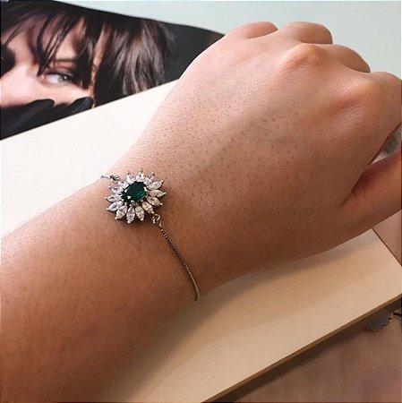 Pulseira Gravata Ródio com Cristal Verde