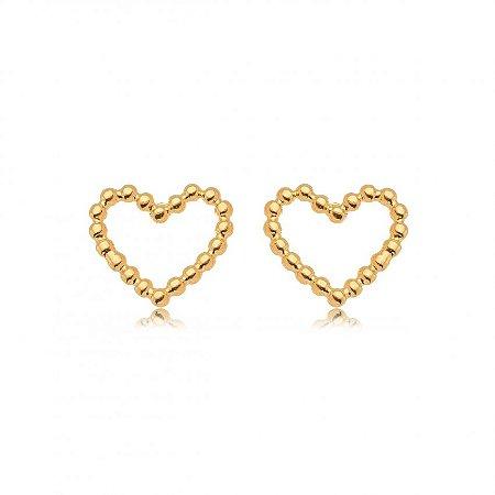 Brinco Dourado Coração Bolinhas