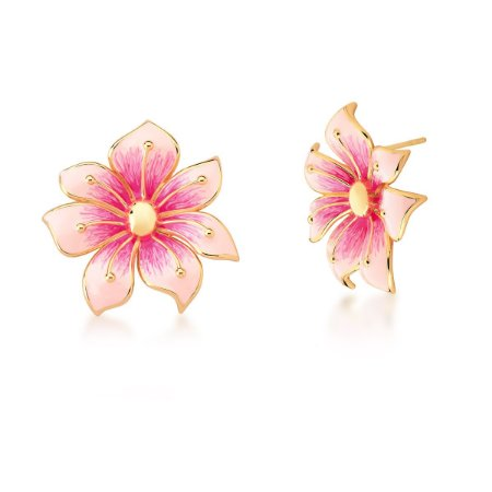 Brinco Dourado Flor Esmaltado Rosa e Pink