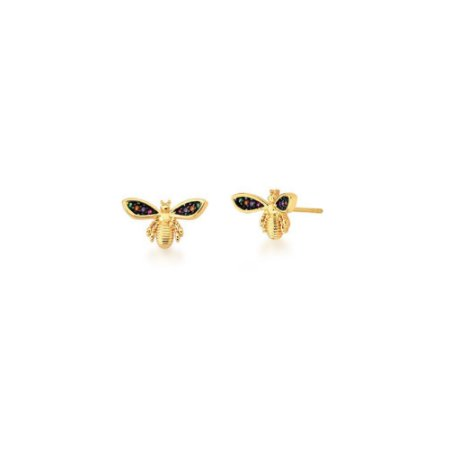 Brinco Dourado Bug Zircônias Coloridas