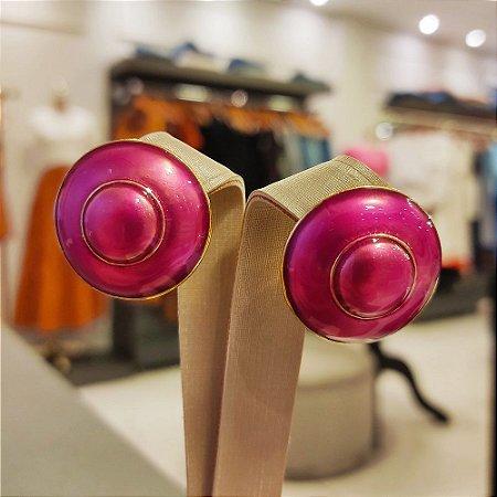 Brinco Dourado Redondo Esmaltado Pink
