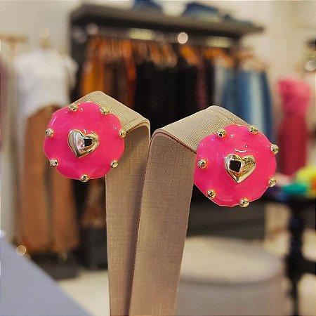 Brinco Dourado Mandala Coração Esmaltada Pink