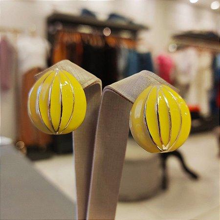 Brinco Dourado Balão Esmaltado Amarelo