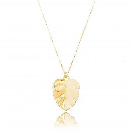 Colar Dourado Costela de Adão Esmaltado Branco