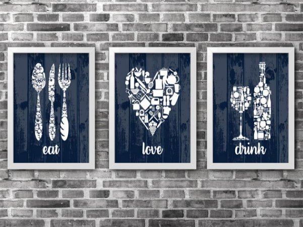 KIT COM 3 QUADROS - Kit Drink, Eat, Love