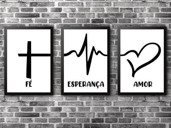 KIT COM 3 QUADROS - Fé, Esperança e Amor (1)