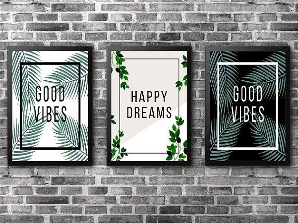 KIT COM 3 QUADROS - Good Vibes