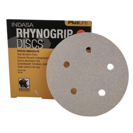DISCO DE LIXA D125 5 FUROS RHYNOGRIP PLUS - INDASA