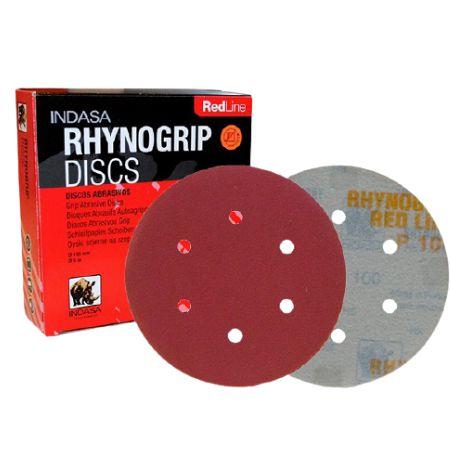 DISCO DE LIXA D125 5 FUROS RHYNOGRIP RED - INDASA