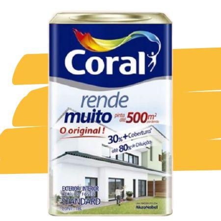 TINTA ACRÍLICA RENDE MUITO AMARELO CANÁRIO 18L - CORAL