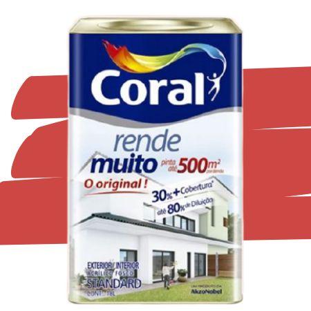 TINTA ACRÍLICA RENDE MUITO VERMELHO CARDINAL 18L - CORAL