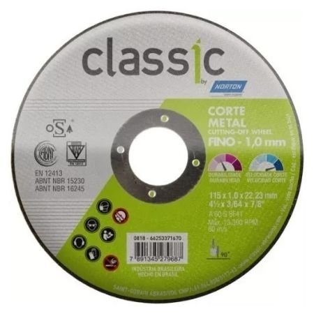 DISCO CORTE INOX CLASSIC AR 102 115X1,0X22,23 - NORTON