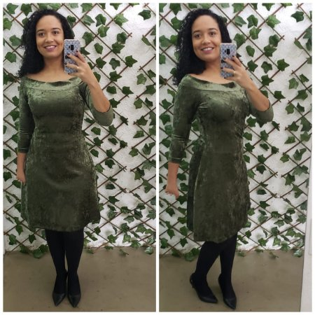 Vestido de veludo molhado verde M