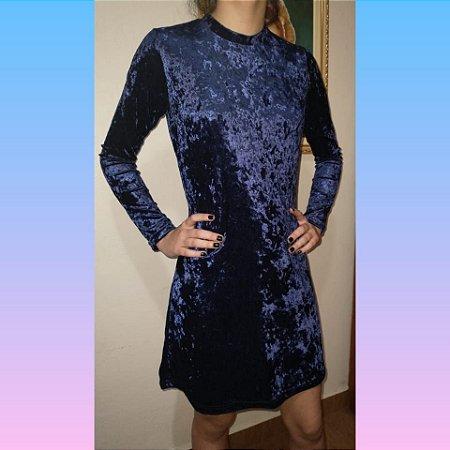 Vestido curto veludo molhado azul/ tamanho P