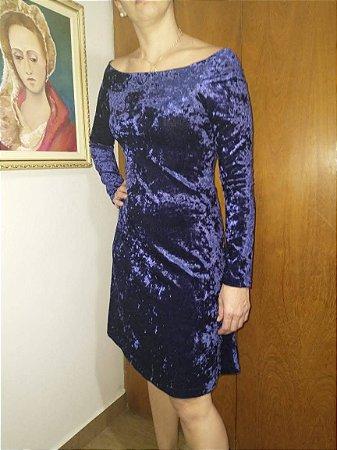 Vestido de veludo molhado azul tamanho M