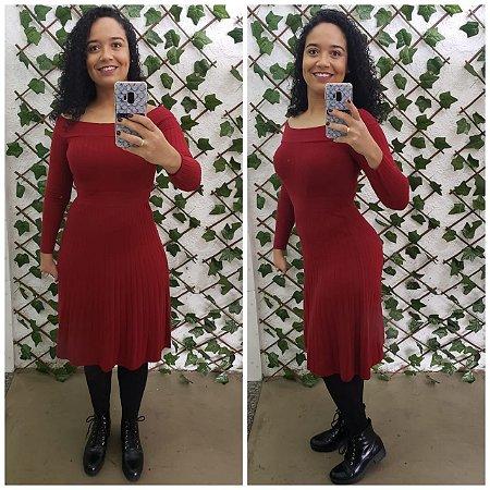 Vestido de tricot vermelho manga longa M