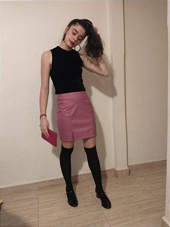 Saia curta courino rosa chiclete