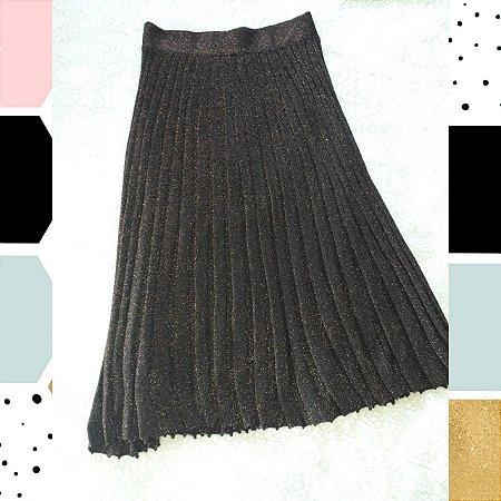 Saia  midi plissada de tricot M