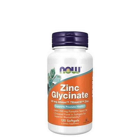 Glicinato de Zinco 30mg (Zinc Glycinate) 120 Softgels - NOW FOODS