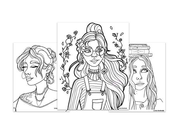 Kit 3 Folhas Ilustradas Livia Andrade   Papel Estudantil A4   100% celulose