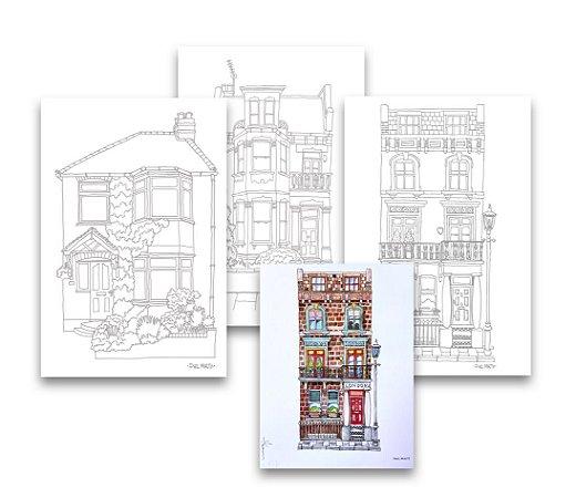 Kit 3 Folhas Ilustradas Fine Art Phil Maltz   A4 - 100% Eucalipto   320g/m