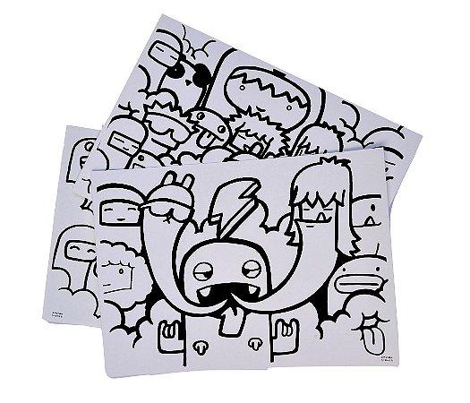 Kit 3 Folhas Ilustradas Doodle | Papel Estudantil A4 | 100% celulose