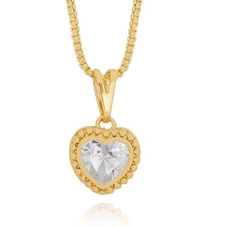 Colar Coração em Zircônia com Caixa Detalhada Semijoia Ouro 18K