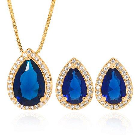 Conjunto Gota Cristal Azul Folheado Ouro 18K e Micro Zircônia nas Bordas