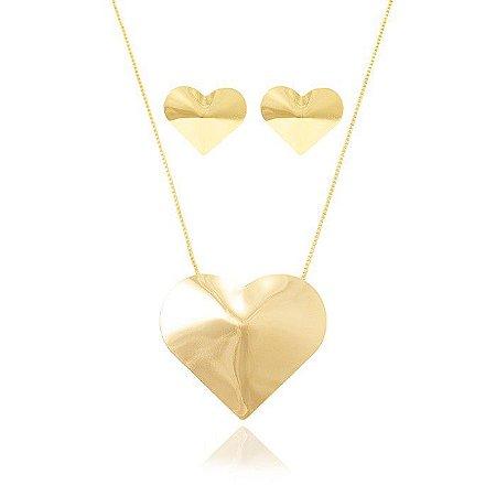 Conjunto Folheado Ouro 18k Coração Liso