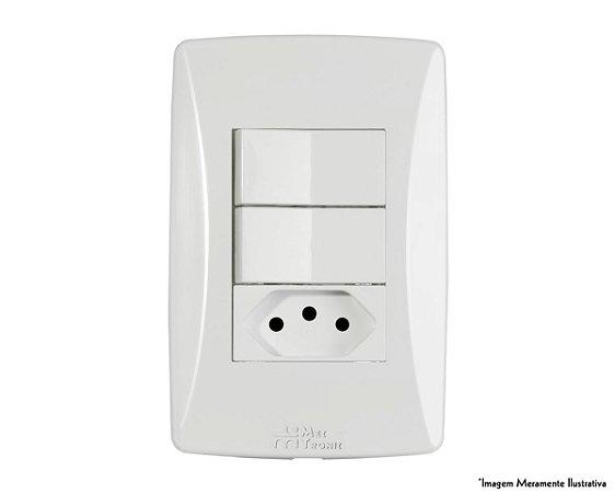 Interruptor Petra 2 Simples + 1 Tomada 10A S