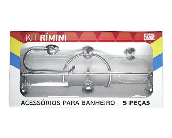KIT BANHEIRO ABS RIMINI COM 5 PEÇAS CROMADO/CRISTAL