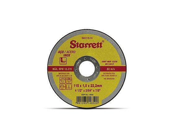 DISCO DE CORTE AÇO INOX E CARBONO 115x1,0 DAC115-14 STARRET
