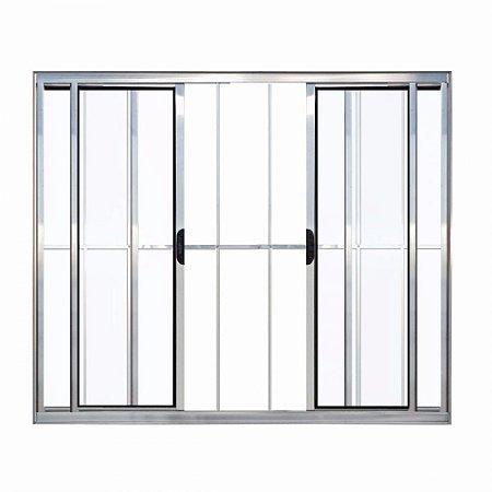 Janela  Alumínio Com  Grade 4 Folhas  1,00M X 1,20M