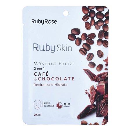 MÁSCARA FACIAL DE TECIDO CAFÉ+CHOCOLATE - RUBY ROSE