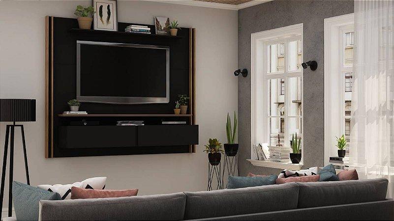 "Painel para TV até 65"" Toronto Gelius Preto 160x180x37"